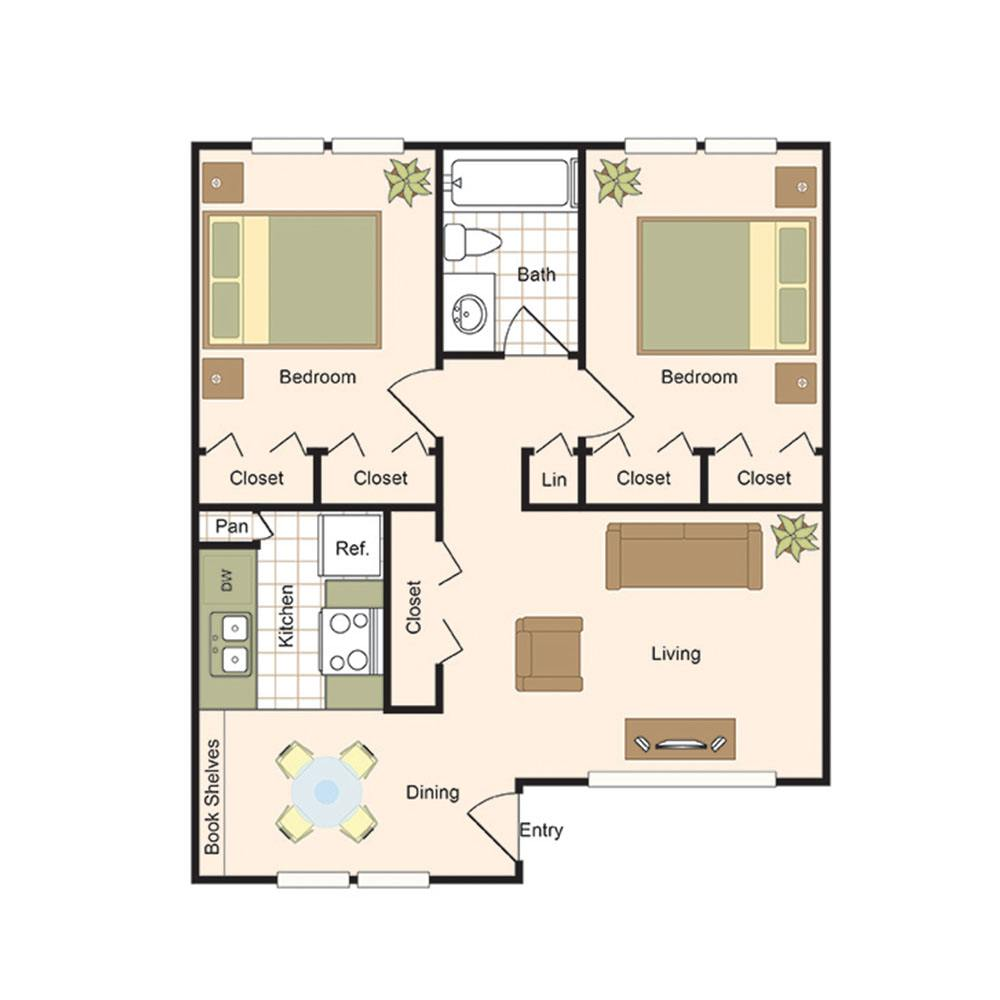 Floor Plan B1  2 Bed  1 Bath   893 S F. Floor Plans   The Bordeaux Luxury Apartment living in the Uptown